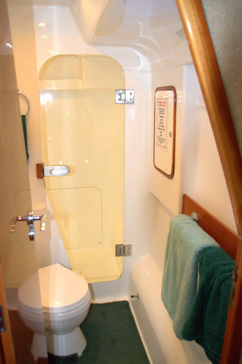 Shower and toilet facilities on board your charter boat