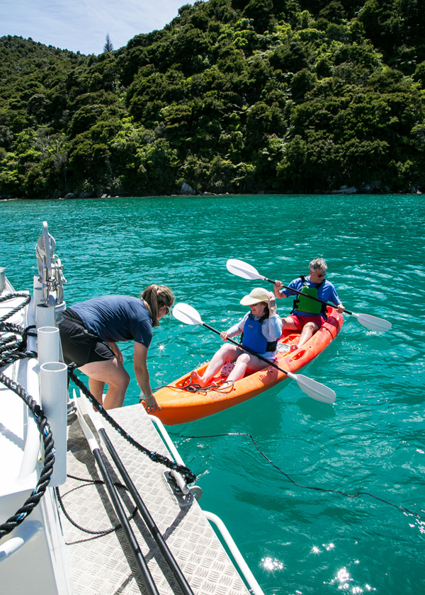 You can charter and exclusive boat cruise in the Abel Tasman